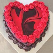 Heart Shape Red Marble Cake