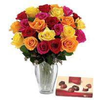 Two dozen roses with chocolate