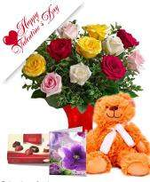 Assorted Roses with Teddy n Chocolate