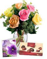 6 Mixed Roses with Chocolate n Card