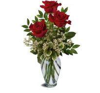 Three Red Roses Bouquet