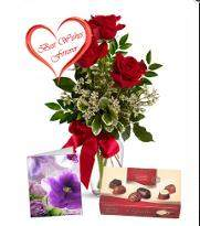 Three Red Roses with Chocolate
