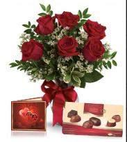 Half Dozen Roses With Chocolate