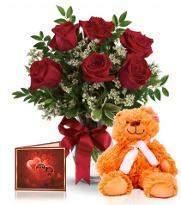 Half Dozen Roses With Teddy