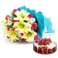 Mix Flowers And Cake