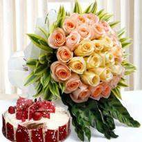 Peach Roses And Cake