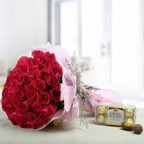 50 Red Roses and Ferrero