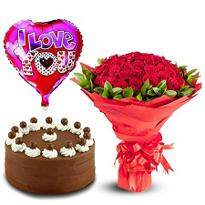 Choco Cake with Red Roses