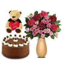 Lovely Flowers with Chocolate Cake