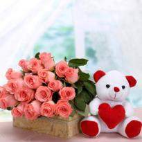 Pink Roses And Teddy