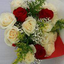 Mix Of White & Red Roses