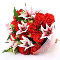 Oriental Lilies and Red Roses