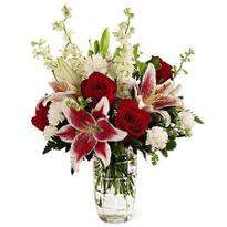 Pink Lilies & Red Roses Vase