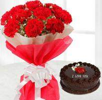 Carnations and Chocolate Cake