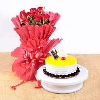 Pineapple Cake and Red Roses
