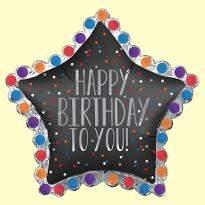 Black Star Birthday Balloon