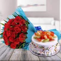 Red Roses N Fruity Treat