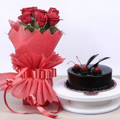 Buy Red Roses and Chocolate Cake