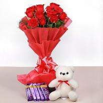 Red Roses with Teddy and Chocolate