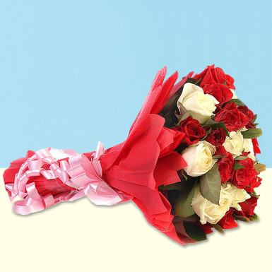 Buy Red And White Roses Bunch