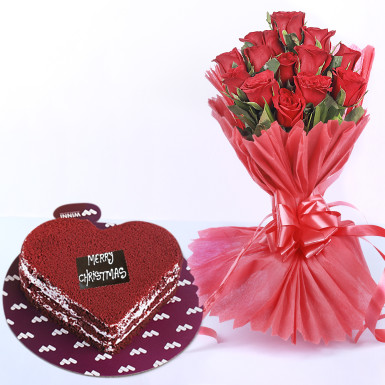 Buy Red Roses And Red Velvet Combo