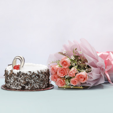 Buy Pink Roses With Cake