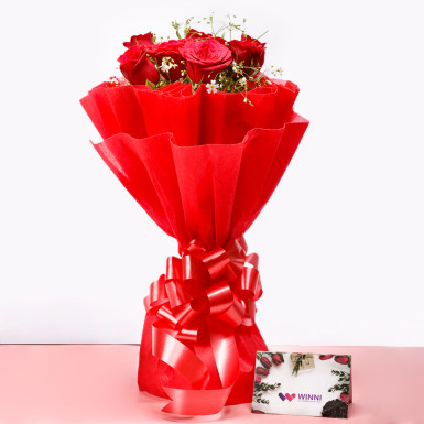 8 Red Roses Bouquet: send flowers online