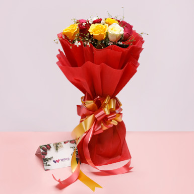 8 Mixed Roses Bouquet: flowers online