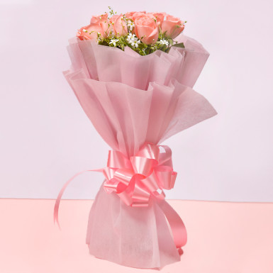 8 Pink Roses: Flower Delivery