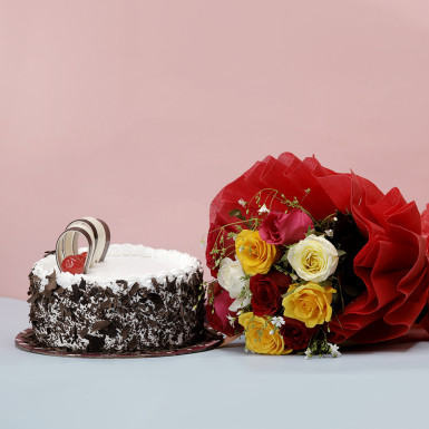 Buy Black Forest Cake with Mixed Roses