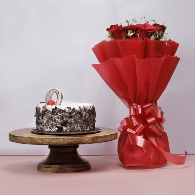 Buy Black Forest Cake with Red Roses