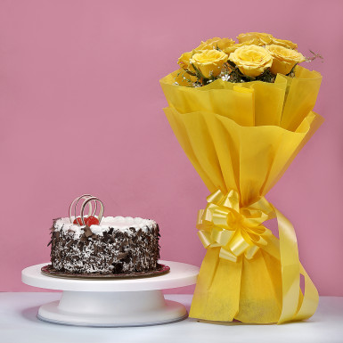Buy Black Forest Cake with Yellow Roses