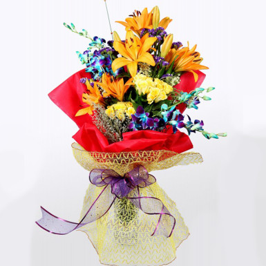 Buy Lilies and Orchids in Red Packing